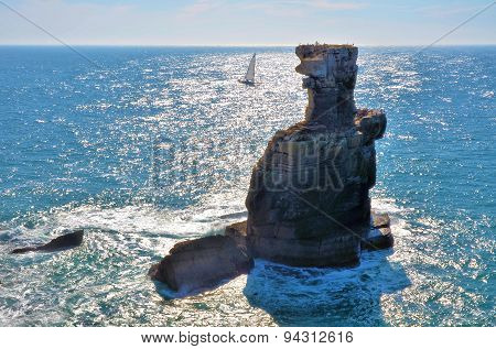 Famous rock near the city of Peniche in Portugal