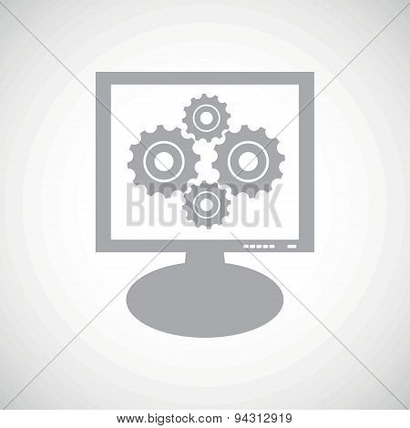 Cogs grey monitor icon
