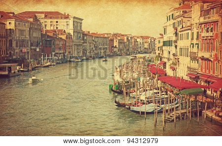 The Grand Canal in Venice, Italy. View from Rialto Bridge. Added paper texture