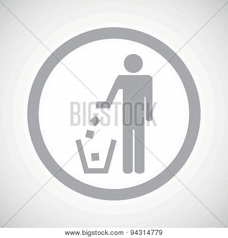 Grey recycling sign icon