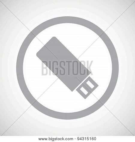 Grey USB stick sign icon
