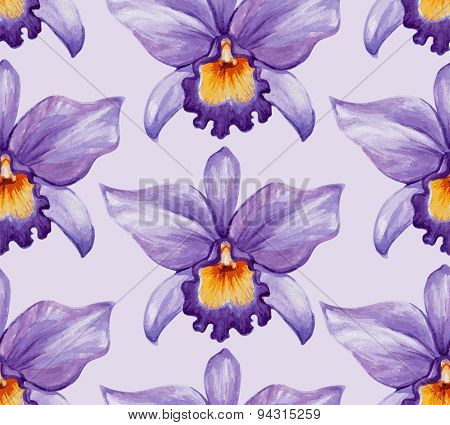 Watercolor tropical orchid flower seamless pattern. Vector illustration.