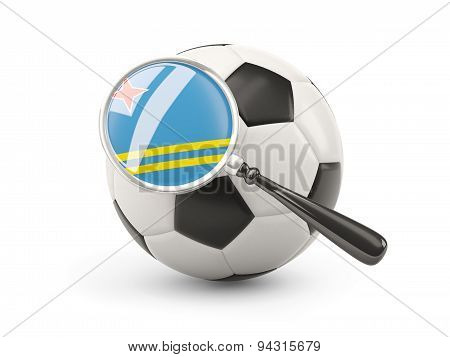 Football With Magnified Flag Of Aruba