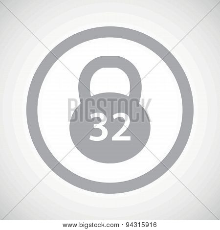 Grey dumbbell sign icon