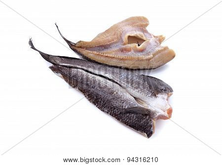 Dry Marinated Baby Mud-fish One Sun On White Background