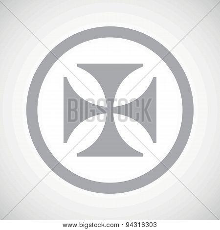 Grey maltese cross sign icon