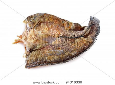 Fried Marinated Baby Mud-fish One Sun On White Background