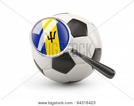 Football With Magnified Flag Of Barbados