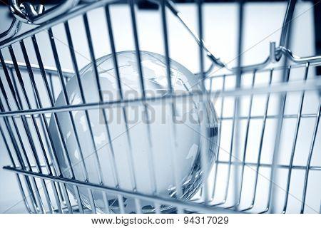 glass globe in the shopping basket