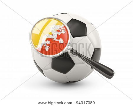 Football With Magnified Flag Of Bhutan