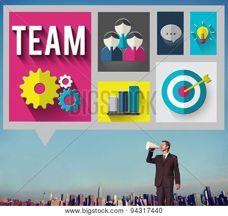 Businessman Team Teamwork Business Concept