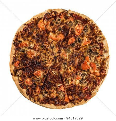 Delicious italian pizza over white background