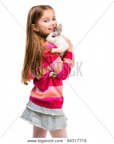 cute little girl in a crimson sweater  with baby rabbit isolated over white background