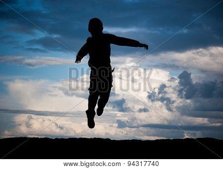 Cute little boy jump on white background