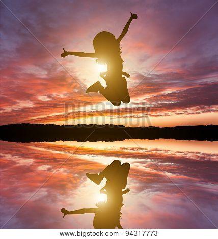 Cute little girl jump. Studio shot. White background