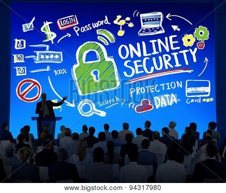 Online Security Protection Internet Safety Business Seminar Concept
