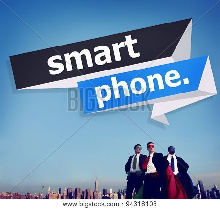Business People Superheroes Smart Phone Concept