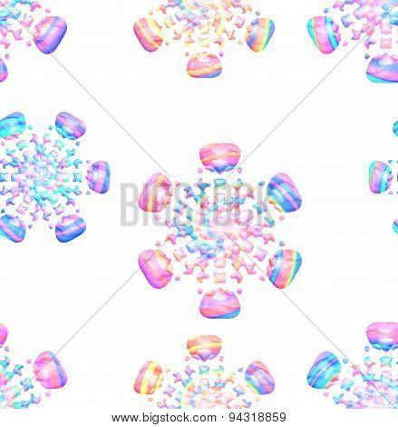 Seamless Pastel Colored Snowflakes On White