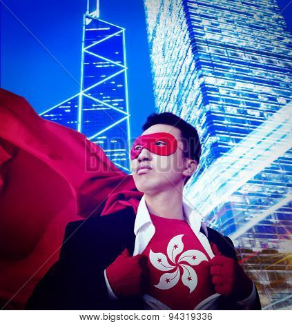 Superhero Hong Kong City Scape Patriotism Businessman Concept