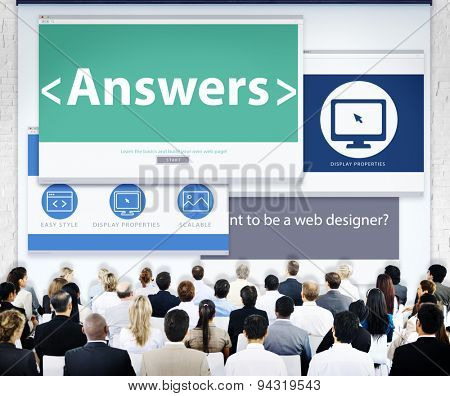 Business People Answers Web Design Concept