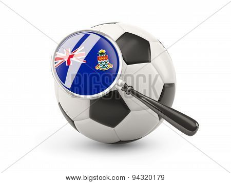 Football With Magnified Flag Of Cayman Islands
