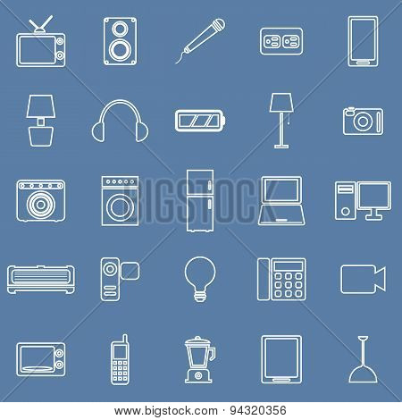 Electrical Machine Line Icons On Blue Background