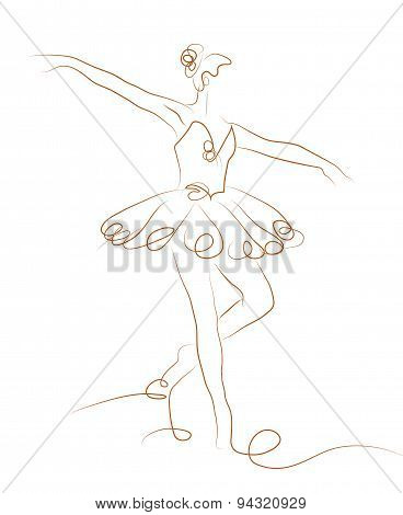sketch of girls ballerina standing in a pose onwhite background