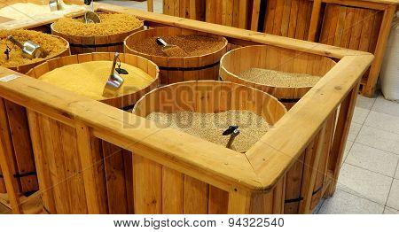 Wooden barrels with groats