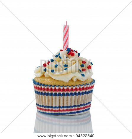 Decorative Cupcake For The Fourth Of July On White Background