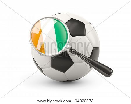 Football With Magnified Flag Of Cote D Ivoire