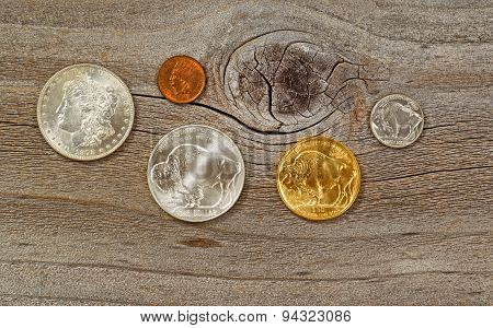 Vintage Usa Coins On Weathered Wood