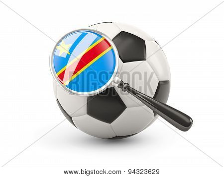Football With Magnified Flag Of Democratic Republic Of The Congo
