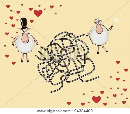 Romantic Maze: Help The Male Lamb To Find The Way To The Female