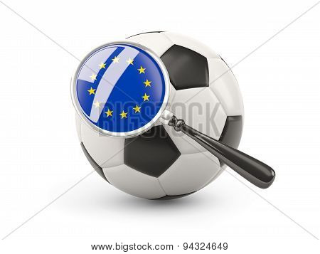 Football With Magnified Flag Of European Union