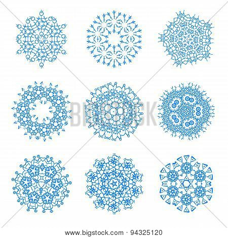 Vector Set Of Round Decorative Circles. Can Be Used As Texture Or Frames.