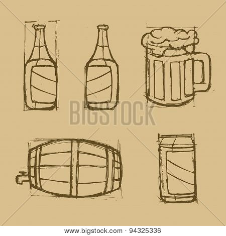 Hand Drawn Beer Set On The Brown Background.