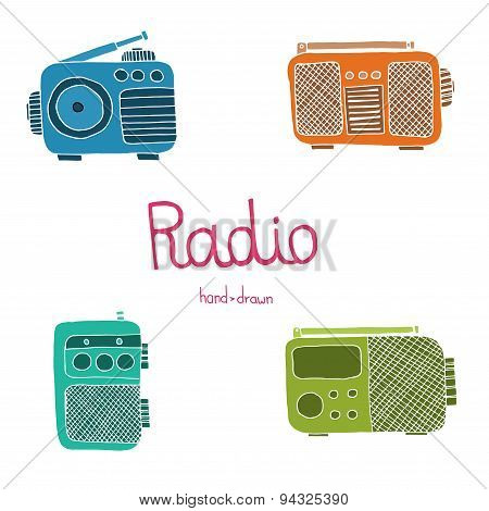Hand Drawn Radio Set On The White Background.