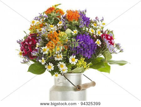 Beautiful colorful summer flower bouquet isolated