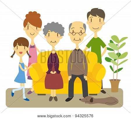 Three Generation Family In Living Room