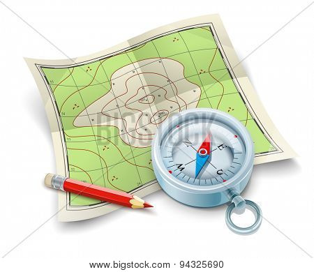Compass map and pencil for tourism travel. Eps10 vector illustration. Isolated on white background