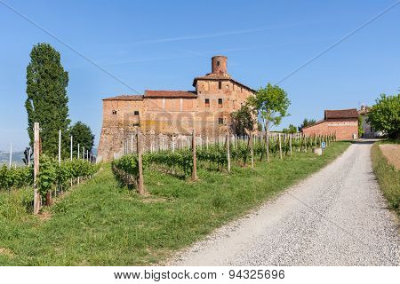 Green vineyards and old medieval castle in Piedmont, Northern Italy.