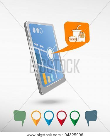 Fast Food Icon And Perspective Smartphone Vector Realistic
