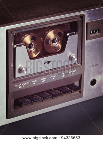 Vintage stereo cassette tape deck player recorder