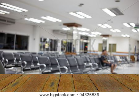 Blur Image Of Hospital Office Room With Table And Chairs For Background Usage.