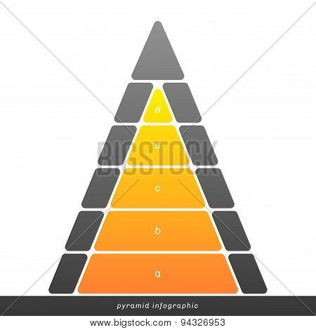 Vector Pyramid Infographic Shows Growth With Gradient Fill.