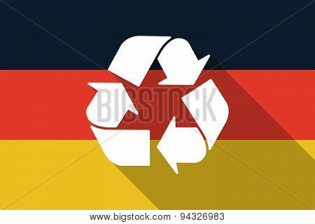 Germany  Long Shadow Flag With A Recycle Sign