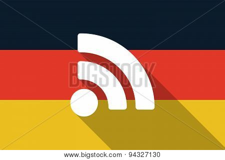 Germany Long Shadow Flag With A Rss Feed Sign