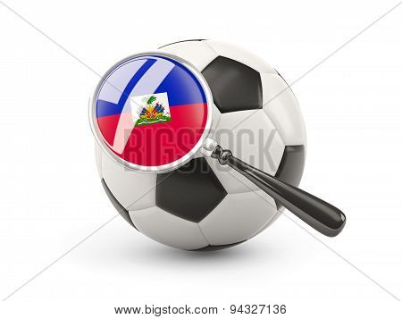 Football With Magnified Flag Of Haiti