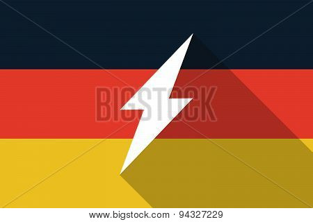 Germany Long Shadow Flag With A Lightning