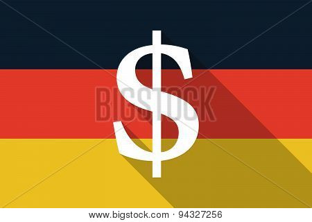 Germany Long Shadow Flag With A Dolar Sign